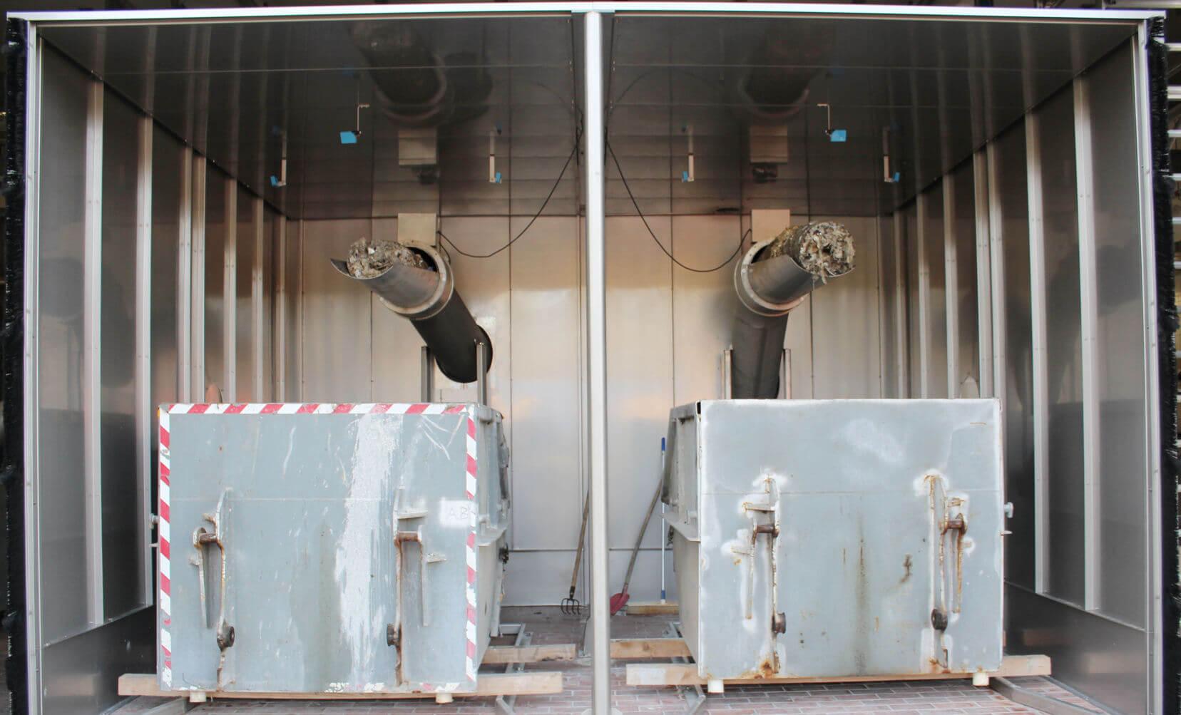 Harkenumlaufrechen Boomerang XL, Pegelstandreguliersystem, Schwemmsystem, Granit Rechengutwaschpresse, Rechengutverteilanlage, Containergaragen mit Absaugung, Testanlage zur Verhinderung von Sandablagerungen in den Gerinnen